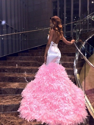 Pink Mermaid Sleeveless Prom Dresses | High Neck Appliques Feathers Evening Gowns_3