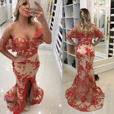 Appliques Scoop Front-Split Mermaid Red Evening Dresses_3