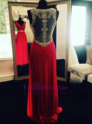 Crystal Beading Long Natural Sleeveless Prom Dresses_1