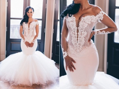 Chic Jewel Long Sleeve Applique Ruffles Fit And Flare Mermaid Wedding Dresses_3