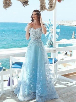 Exquisite A-Line Floral Prom Dresses | Off-The-Shoulder Short Sleeves Beaded Prom Dresses With Bows_1