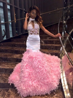 Pink Mermaid Sleeveless Prom Dresses | High Neck Appliques Feathers Evening Gowns_4