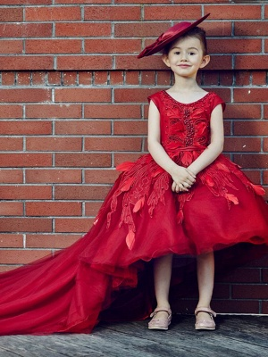 Cute Tulle Scoop Neck Beading Appliques Knee-Length Flower Girl Dress with Chapel Train_3