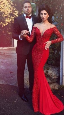 2019 Red Mermaid Prom Dresses Long Sleeves Lace Formal Evening Gowns_1