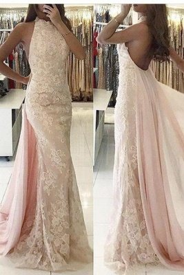 Backless Tulle Sweep-Train Newest Applqiues Mermaid Halter Evening Dress_2