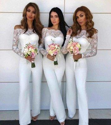 Off Shoulder Lace Jumpsuit Bridesmaid Dresses | Long Sleeves Sheath Wedding Party Pants_3