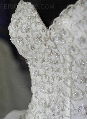Fashion Court Train Puffy Beadeds Wedding Dress with Bowknot_4