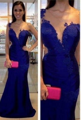 Royal-Blue Mermaid Appliques One-Shoulder  Prom Dress_2