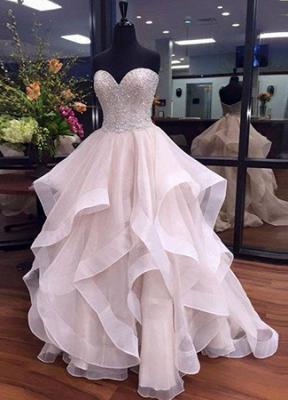 Tulle Elegant Sweetheart Floor-Length Ruffles Beadings Prom Dresses_3
