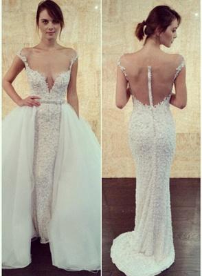 Cap-Sleeve Detachable Glamorous Long Mesh Pearls Beaded Wedding Dress_2