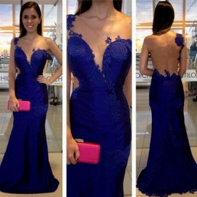 Royal-Blue Mermaid Appliques One-Shoulder  Prom Dress_3