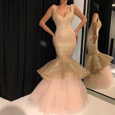 Glamorous Mermaid Sequins Prom Dresses   2019 Sweetheart Ruffles Evening Gowns_3
