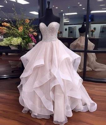 Tulle Elegant Sweetheart Floor-Length Ruffles Beadings Prom Dresses_2