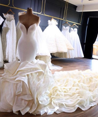 Strapless Sweetheart Mermaid Wedding Dresses with Tiered Train_2