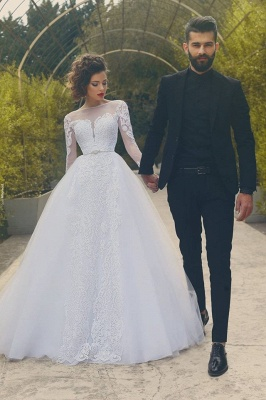 White Tulle Glamorous Crystal Appliques Long-Sleves Wedding Dress_2