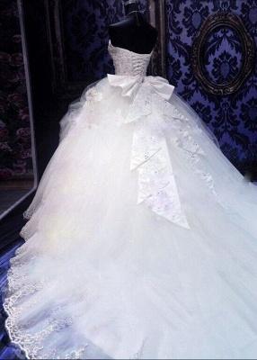 Fashion Court Train Puffy Beadeds Wedding Dress with Bowknot_3