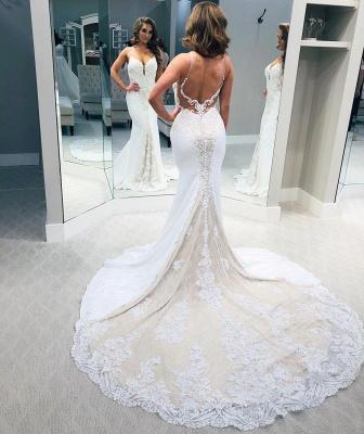 Spaghetti Strap Sweetheart Lace Sheath Wedding Dresses | Backless Chapel Train Bridal Gown_2