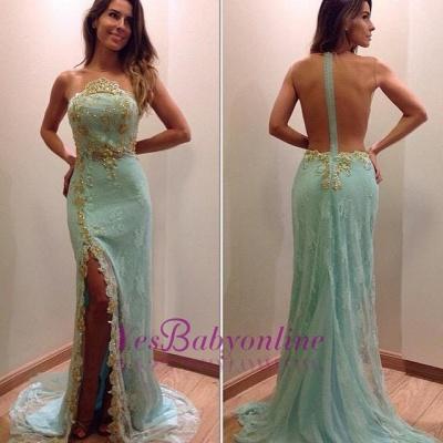 Mint Lace Mermaid Evening Dresses Side Slit Sexy Prom Dresses_1