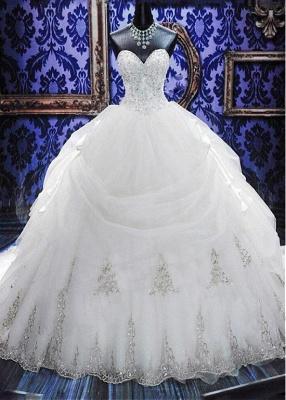 Fashion Court Train Puffy Beadeds Wedding Dress with Bowknot_1