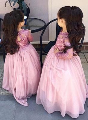 Affordable Pink Long Sleeves Flower Girl Dresses_2