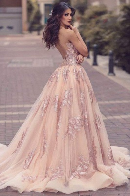 Lace Appliques V-neck Tulle Front Overskirt Slit Amazing Pink Evening Dress_3