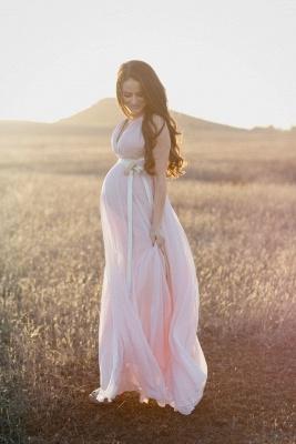 V-neck Modest Maernity Sleeveless Long  A-line Pink Prom Dress_3