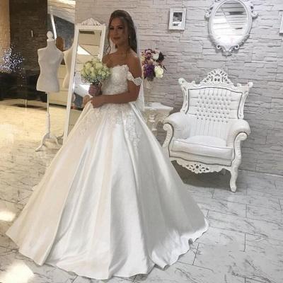 Stylish Puffy Lace White Wedding Dress | Off-the-shoulder Bridal Dresses_3