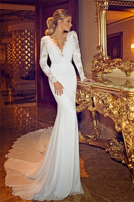 Chapel Train V-Neck Mermaid Wedding Dress | Long Sleeves Applique Open Back Bridal Dresses_5