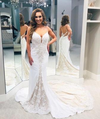Spaghetti Strap Sweetheart Lace Sheath Wedding Dresses | Backless Chapel Train Bridal Gown_3