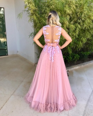 Dresses Sheath Long  Hot Pink Prom With Lace_3