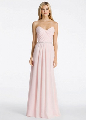 Long Sweetheart-Neck Ruched Chiffon Pink A-line Bridesmaid Dresses_3