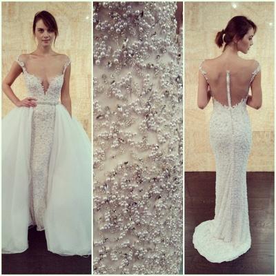 Cap-Sleeve Detachable Glamorous Long Mesh Pearls Beaded Wedding Dress_3