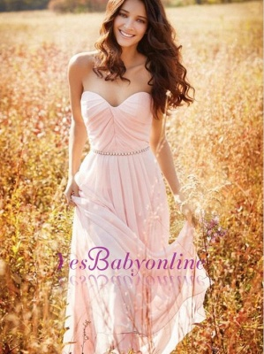 Long Sweetheart-Neck Ruched Chiffon Pink A-line Bridesmaid Dresses_1
