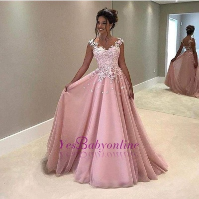 Elegant Pink Prom Dresses Lace Appliques Capped Sleeves A-line Evening Gowns_1