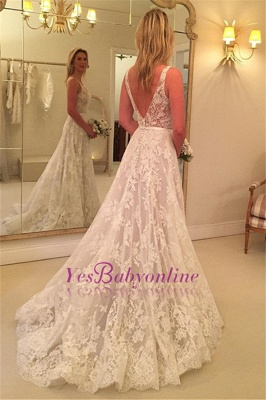 Sleeveless Appliques Buttons Lace V-Neck A-line Wedding Dress_1