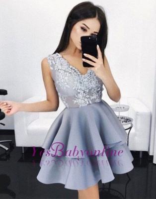 V-Neck Lace Layers Elegant A-line Sleeveless Homecoming Dresses_1