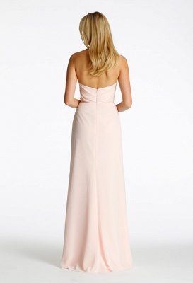 Long Sweetheart-Neck Ruched Chiffon Pink A-line Bridesmaid Dresses_4