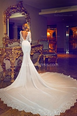 Chapel Train V-Neck Mermaid Wedding Dress | Long Sleeves Applique Open Back Bridal Dresses_3