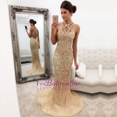 Sleeveless Zipper-Back Halter Gorgeous Crystals Mermaid Prom Dress_1