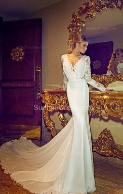 Chapel Train V-Neck Mermaid Wedding Dress | Long Sleeves Applique Open Back Bridal Dresses_4