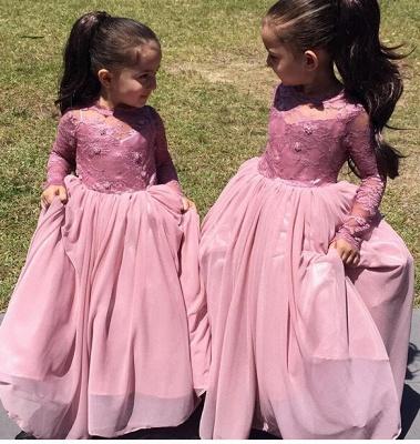 Affordable Pink Long Sleeves Flower Girl Dresses_1
