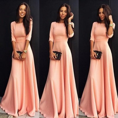 Jewel Elegant Chiffon A-line Half-sleeve Prom Dress_3