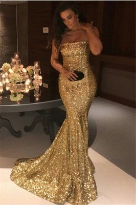 Sparkly Sequins Mermaid Prom Dresses Strapless Party Dresses_1