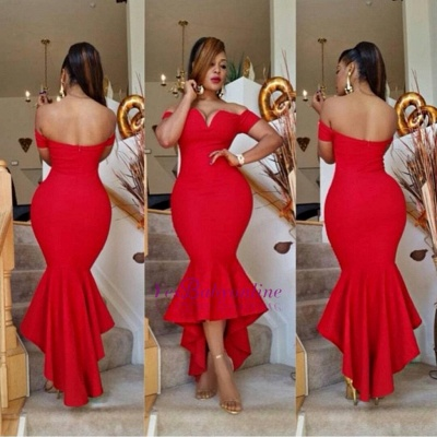 Simple Off-the-Shoulder Red Sexy Hi-Lo Mermaid Prom Dress_1