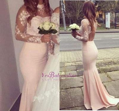 Mermaid Appliques Long-Sleeves High-Neck Glamorous Bridesmaid Dresses_1