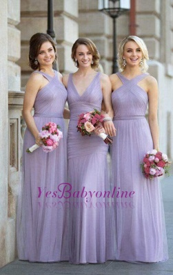 Lavender Bridesmaid Dresses Halter Neck Tulle Long Elegant Ruched Maid of the Honor Dress_1