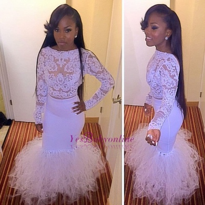Mermaid Cheap Dress Prom Tulle Two-Piece Lace Long-Sleeves_1