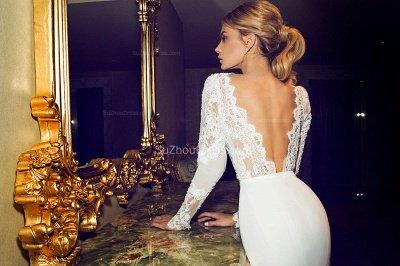Chapel Train V-Neck Mermaid Wedding Dress | Long Sleeves Applique Open Back Bridal Dresses_2