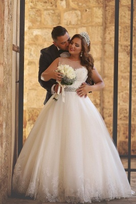 Ball-Gown Glitter See Through-Neck Beaded-Belt Wedding Dresses_2