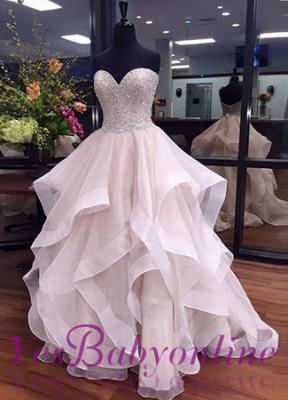 Tulle Elegant Sweetheart Floor-Length Ruffles Beadings Prom Dresses_1